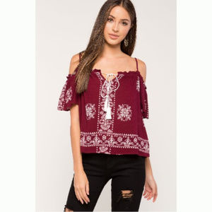 A'gaci Burgundy Boho Cold Shoulder Printed Top